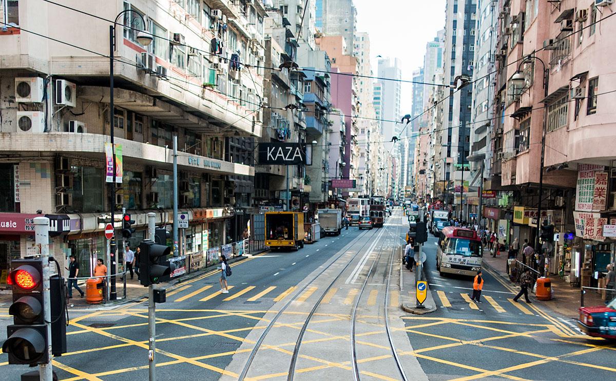 香港、2階建て路面電車